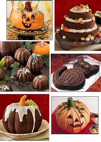 here are links to the sources of the photos and recipes for the adorable and delicious looking halloween desserts shown above