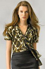 Just Cavalli Cheetah Print Tie Front Chiffon Blouse